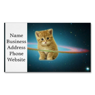 Cat lost in space magnetic business cards