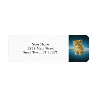 Cat lost in space return address label