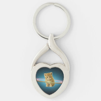 Cat lost in space Silver-Colored twisted heart key ring