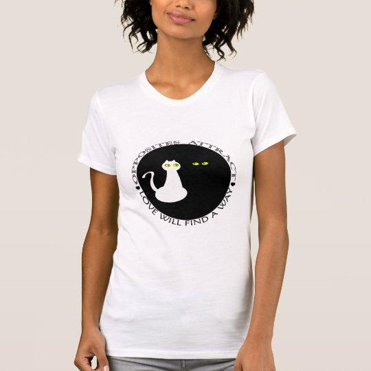 Cat Love Black White Cool Couple Flirting Stylish T-Shirt