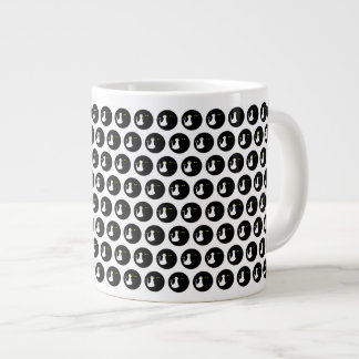 Cat Love Couple Minimal Cool Black White Contrast Large Coffee Mug
