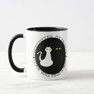 Cat Love Couple Minimal Cool Black White Contrast Mug