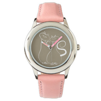 Cat Love Couple Sketch Artistic Modern Simple Chic Watch