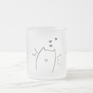 Cat love frosted glass coffee mug