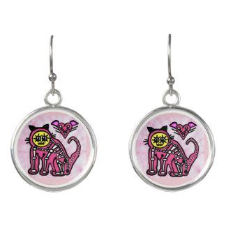 Cat Love Skeleton - Earrings - Day of the Dead