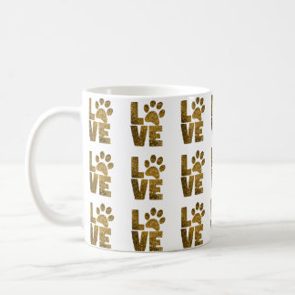 """Cat Love with Paw Print """"O"""" Coffee Mug"""