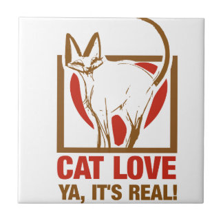 Cat Love - Ya Its Real! Small Square Tile