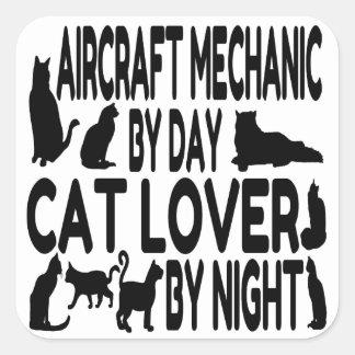 Cat Lover Aircraft Mechanic Square Sticker