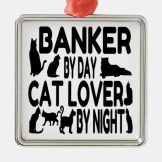 Cat Lover Banker Silver-Colored Square Decoration