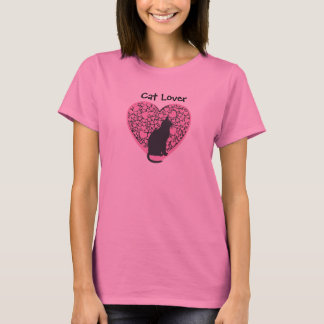 Cat Lover, black cat on pink hearts T-Shirt