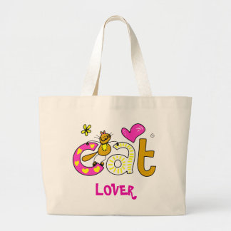 Cat Lover Cartoon Cuteness Large Tote Bag