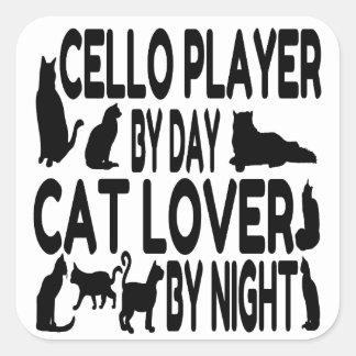 Cat Lover Cello Player Square Sticker