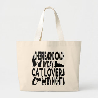 Cat Lover Cheerleading Coach Large Tote Bag