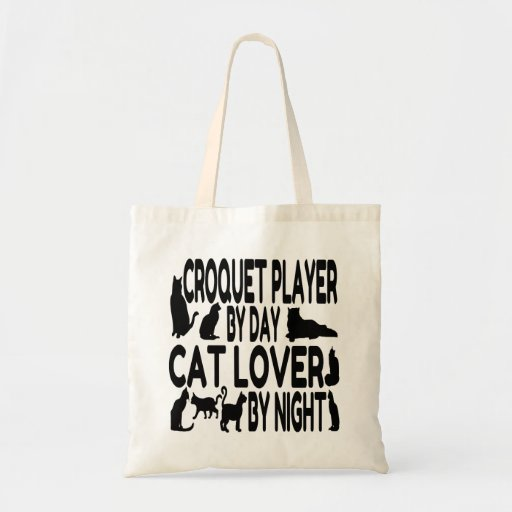 Cat Lover Croquet Player Tote Bags