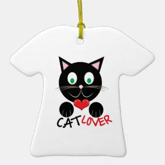 Cat Lover Ceramic T-Shirt Ornament