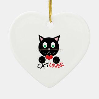 Cat Lover Ceramic Heart Ornament