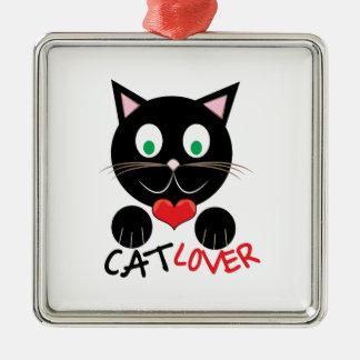 Cat Lover Silver-Colored Square Ornament