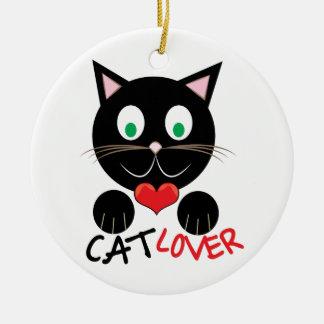 Cat Lover Round Ceramic Ornament