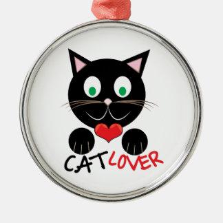 Cat Lover Silver-Colored Round Ornament