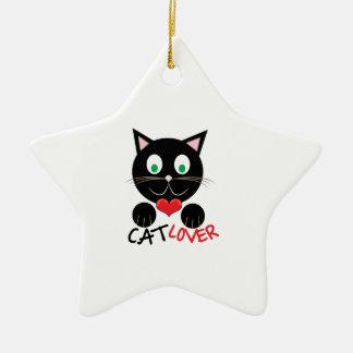 Cat Lover Ceramic Star Ornament