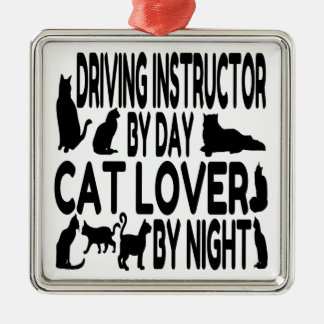Cat Lover Driving Instructor Silver-Colored Square Decoration
