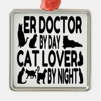Cat Lover ER Doctor Silver-Colored Square Decoration