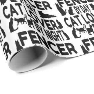 Cat Lover Fencer Wrapping Paper