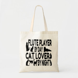 Cat Lover Flute Player Budget Tote Bag