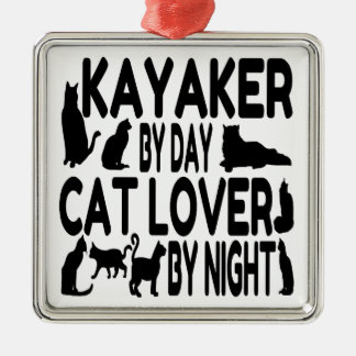 Cat Lover Kayaker Metal Ornament