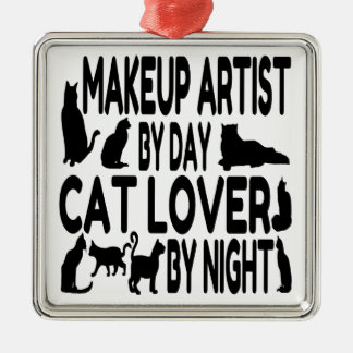 Cat Lover Makeup Artist Metal Ornament