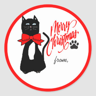 Cat Lover  Merry Christmas Round Sticker