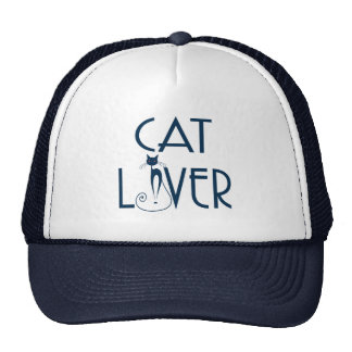 Cat Lover-Navy Blue Text & Stylized Cat Cap