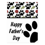 Cat Lover/Paw Print - Happy Father's Day Postcard