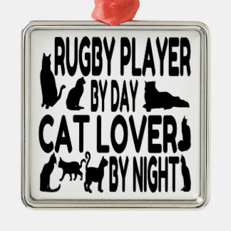 Cat Lover Rugby Player Silver-Colored Square Decoration