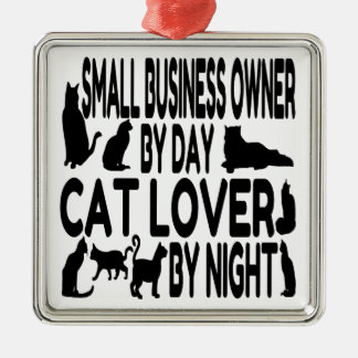 Cat Lover Small Business Owner Silver-Colored Square Decoration