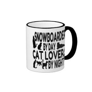 Cat Lover Snowboarder Ringer Mug