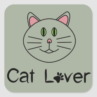 Cat Lover Square Sticker