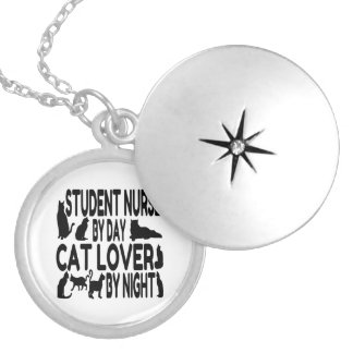 Cat Lover Student Nurse Silver Plated Necklace