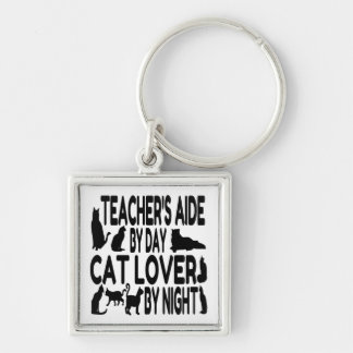 Cat Lover Teachers Aide Silver-Colored Square Key Ring