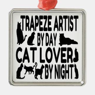 Cat Lover Trapeze Artist Silver-Colored Square Decoration