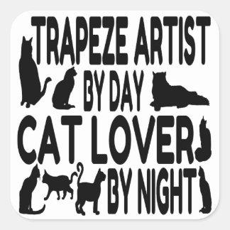 Cat Lover Trapeze Artist Square Sticker