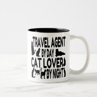 Cat Lover Travel Agent Two-Tone Coffee Mug