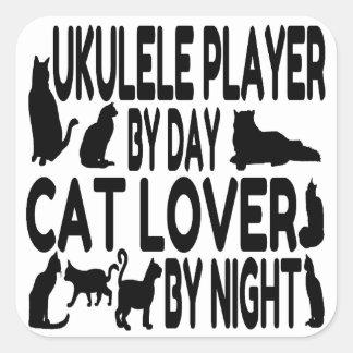 Cat Lover Ukulele Player Square Sticker