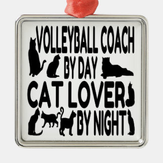 Cat Lover Volleyball Coach Metal Ornament