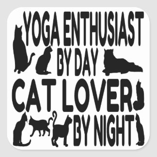 Cat Lover Yoga Enthusiast Square Sticker