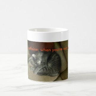 Cat-lovers coffee mug; tabby cat sleeping, mug w/