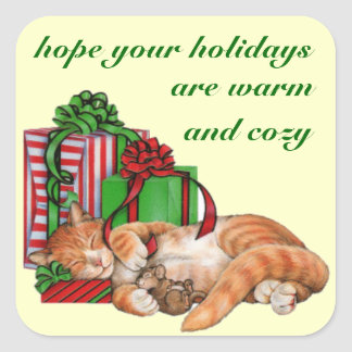Cat Lover's Holiday Envelope & Gift Seals Square Sticker