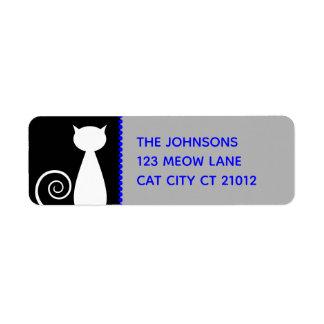 Cat Lovers Simple Black White and Blue Address Return Address Label