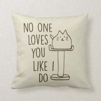 Cat Loves You Cream Throw Pillow