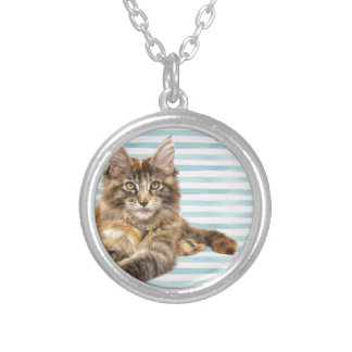 Cat, Maine Coon Silver Plated Necklace